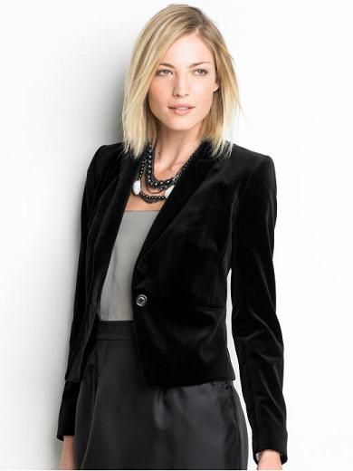 Banana Republic Tall Velvet Blazer in Black, Bananarepublic.com