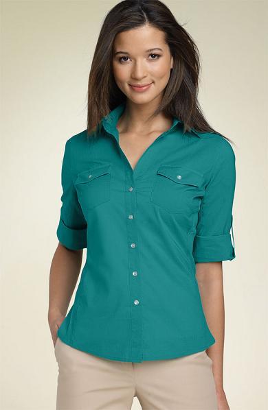 Sandra Ingrish Roll Sleeve Shirt with Side Ribbing, Sandraingrish.com