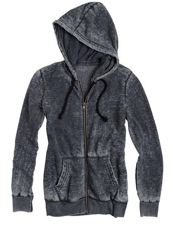 delias burnout zip hoodie in black