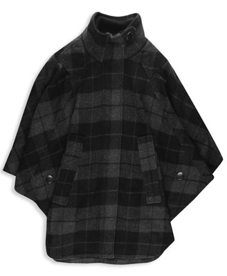 f21  heritage 1981 plaid felt cloak in charcoal black