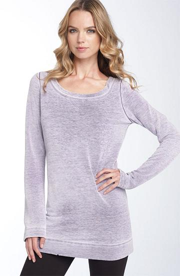 nordstrom splendid distressed fleece top in amethyst