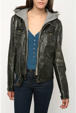 silence and noise fleece hood faux leather jacket